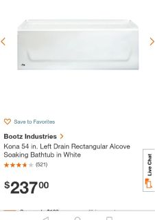 "Kona 54"" Left Drain Bathtub,  New"