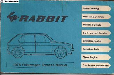 1978 Rabbit Owner's Instruction Manual