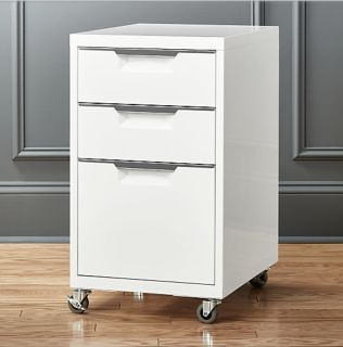 CB2 TPS white filing cabinet