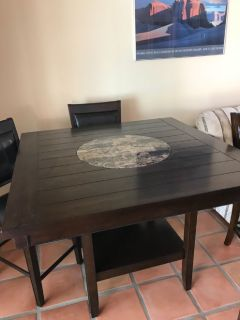 Counter Height Game Table with Lazy Susan Center and 4 padded chairs