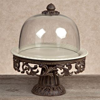 NEW GRACIOUS GOODS GG COLLECTION Rustic Tuscan cake pedestal stand, green plate & dome set
