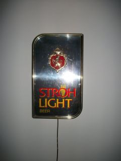 Vintage mirrored & lighted Stroh Light wall hanging