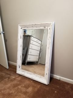 Solid wood white distressed large mirror