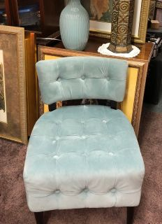 Pier 1 Aqua Velvet Tufted Chair