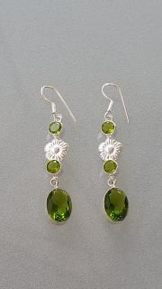 Women's Peridot Silver Earrings