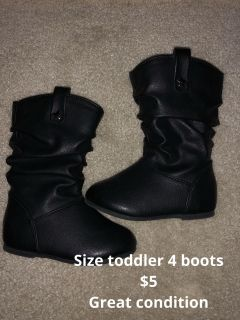 Black toddler boots size 4