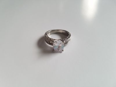 Beautiful Engraved White Sapphire Sterling Silver Engagement Ring - Size 7