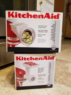 Kitchen Aid attachments. Slicer and Shredder, and Food Grinder