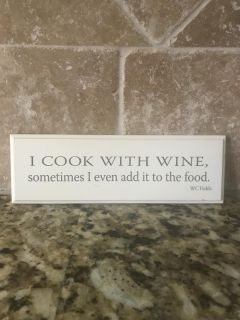 Cute wine sign- designed to hang or place on stand