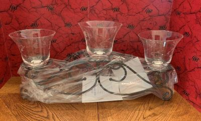 Princess house metal candle holder and three Crystal votive cups with the heritage pattern