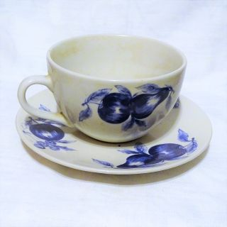 Chinese California pantry large porcelain breakfast cup and saucer with blue