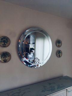 Vintage MidCentury Modern Large Round 1970s Mirror