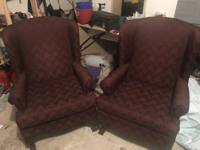Two maroon accent chairs