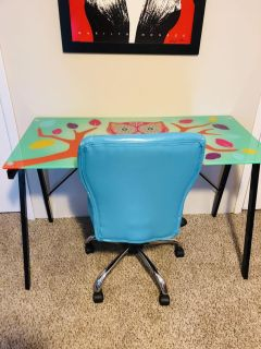 Glass top owl desk and matching office chair