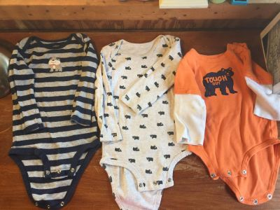Lot of 3 carters LS onesies 18&12 mo