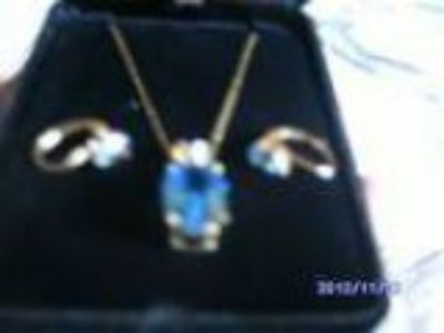 Equistie Pale Blue Topaz Necklace and Matching Earrings