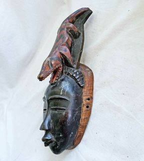 Antique African Wood Mask Crocodile Male Face