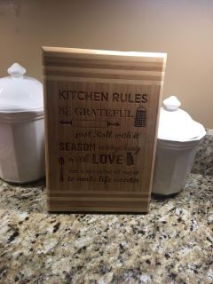 Wooden Cutting Board Sign-Kitchen Rules