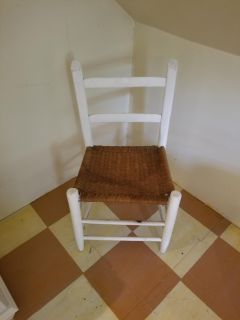 White wood vintage weaved chair