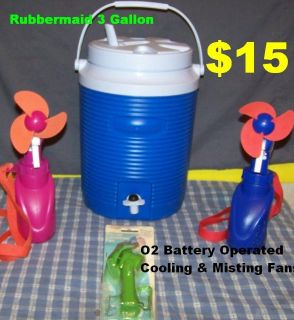 Rubbermaid 3-Gallon Water Cooler & 3 O2 Cooling & Misting Fans. See Product Details Below.