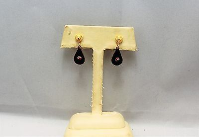 """collectible retro black pink flower floral 1"""" clip on earrings gold tone"""