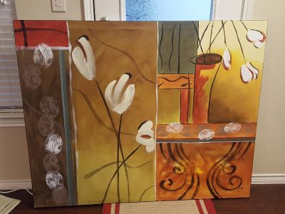 Large modern floral painting on canvas