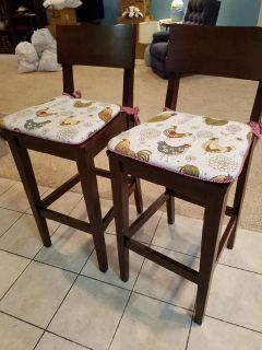 Pair of Wooden Bar Stools with Chair Pads