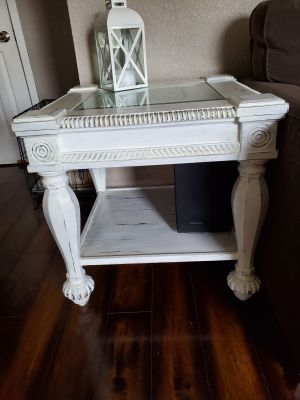 Distressed chalk white end tables