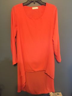 LIKE NEW!! Coral/Orange Sheer Affect Hi-Low Dress - Size Small