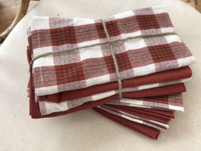 Set of 8 Trendy Bistro 100% Yard-Dyed Cotton Napkins in Check & Solid Spice Orange