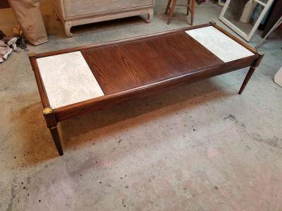 Vintage MCM Wood and Marble Coffee Table