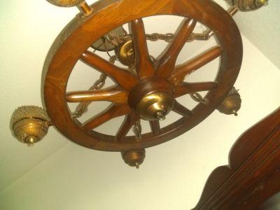 Antique wagon wheel chandelier.