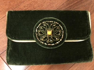 Green Velvet Clutch with Gold Embellishments