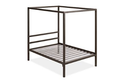 Full-size steel canopy bed
