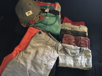 Young Boys Size Large12-14 Clothing & Hat package. Sean White and Vans brand. 9 shirts, 2 shorts and one baseball hat.