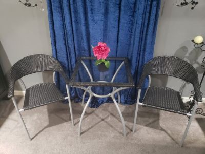 Small Black Table w/ 2 Chairs