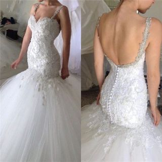 Lynette's Applique Lace Mermaid Wedding Gown