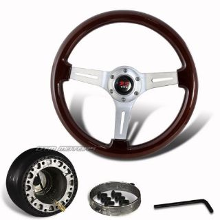 Find 345mm Deep Dish Dark Wood Grain Steering Wheel +Hub For SUBARU IMPREZA LEGACY motorcycle in Rowland Heights, California, United States