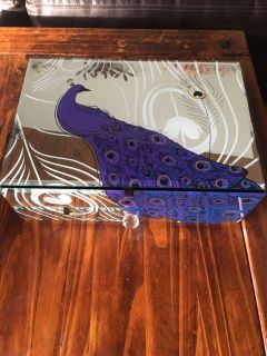 Large Peacock Jewelry Box Glass Compartments/Drawer