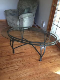 Glass Coffee Table and 2 end tables