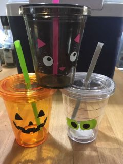 3-8 Ounce Halloween Cups with Straws