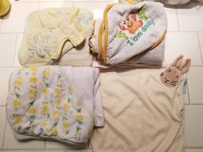 Hooded towels. Large baby wash cloth