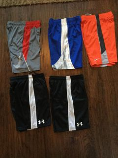 Youth Nike (small) and Under Armour (medium) shorts. All fit the same
