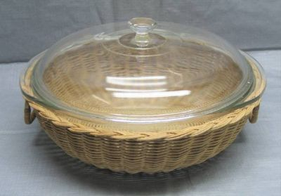 Vintage Pyrex Bowl with Lid in a Rattan / Wicker Basket