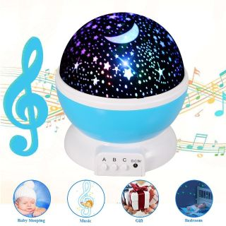 Music Star Projector, Rechargeable Star Light Rotating Projector, 360 Constellation Rotating Star Projector Lamp with 12 Songs