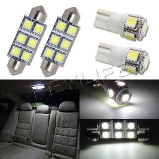 Buy 4 White Led lights Dome + Map Light Interior Package T10 168 211-2 Festoon motorcycle in Cupertino, CA, US, for US $9.99