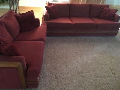 Couch and Loveseat - Beautiful brick red color with oak wood accents - excellent condition!