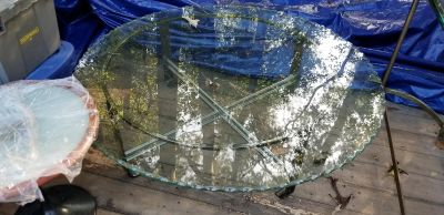 """48"""" round table glass, metal base"""