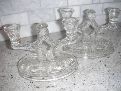 Elegant pr. double taper candle holders