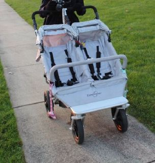 Easywalker duo double stroller, silver, good used condition